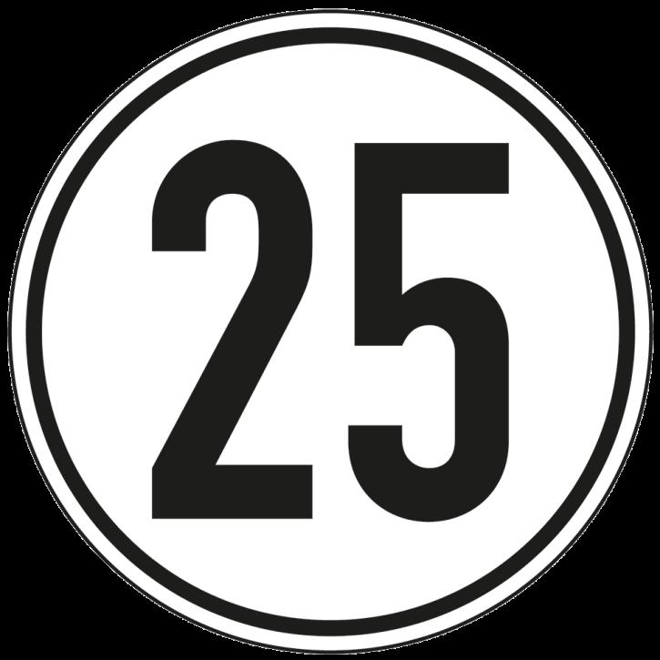 Geschwindigkeitschild Aufkleber 25 km/h