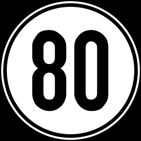 Geschwindigkeitschild Aufkleber 80 km/h