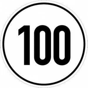 Geschwindigkeitschild Aufkleber 100 km/h