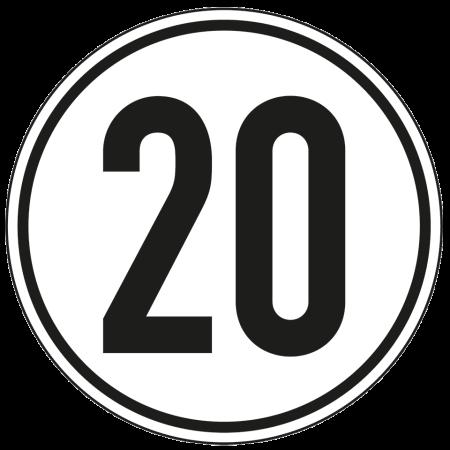 Geschwindigkeitschild Aufkleber 20 km/h
