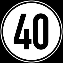 Geschwindigkeitschild Aufkleber 40 km/h